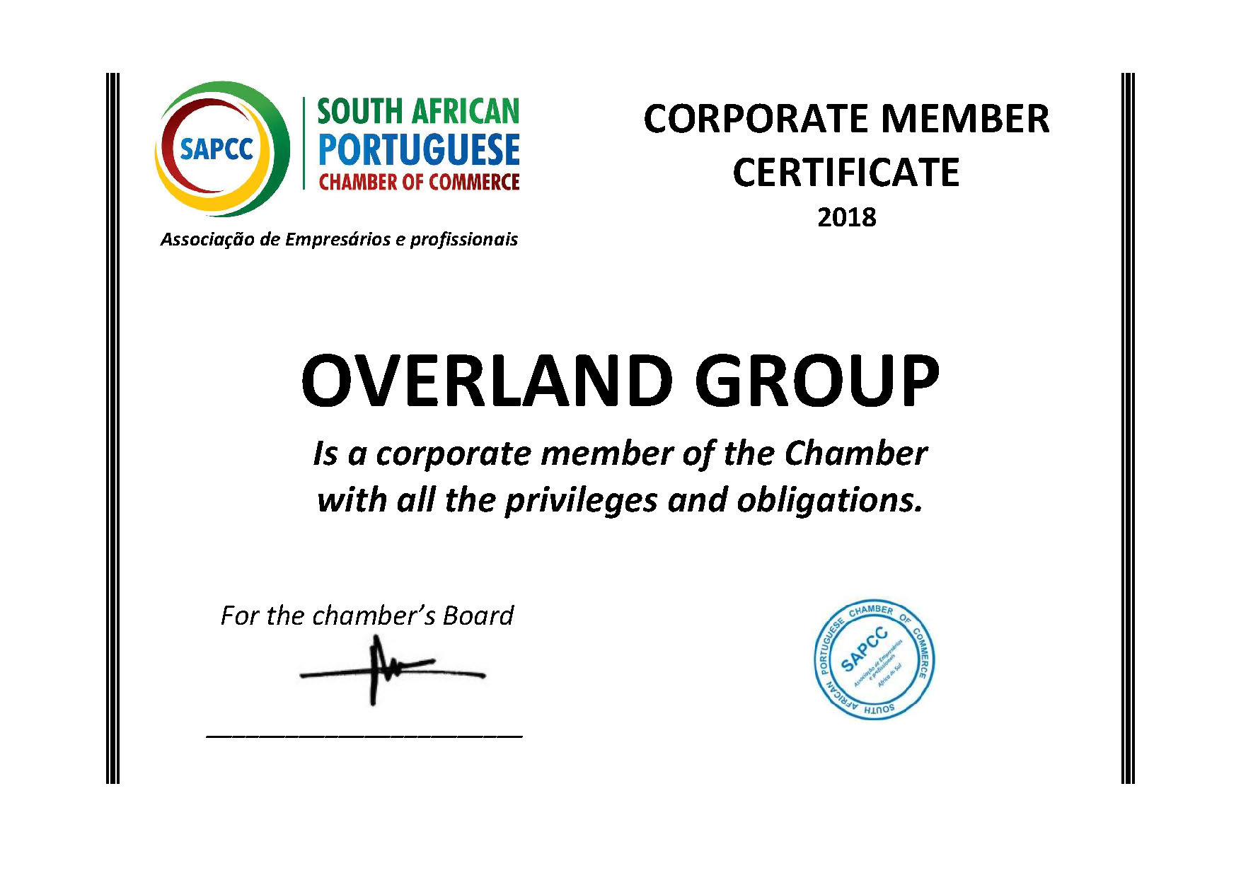 Overland Group Corporate Member Cerfificate